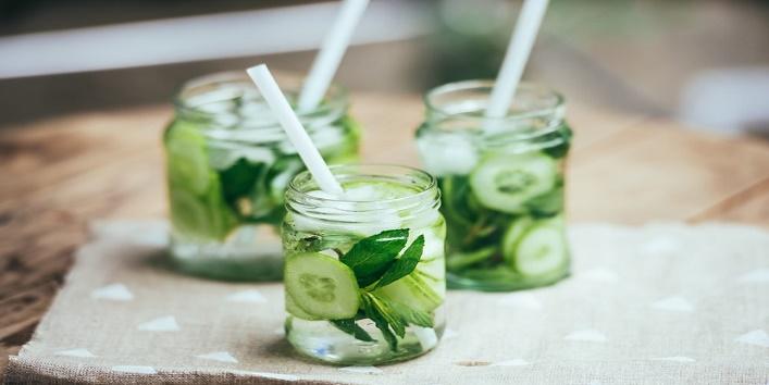 Cucumber water with aloe vera gel